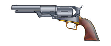 Colt Revolver Pistol on white background. Vector. Royalty Free Stock Photography