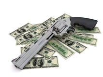 Colt revolver in U.S. dollars Stock Image