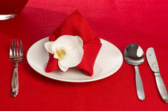 Coltelleria con i fiori su una tovaglia rossa Fotografia Stock Libera da Diritti