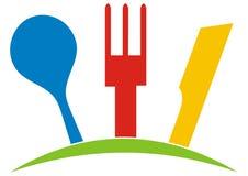 Coltelleria, cucchiaio, forchetta e coltello, illustratiion multicolore di vettore illustrazione di stock