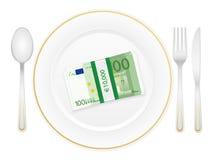 Coltelleria del piatto e cento euro pacchetti Immagine Stock