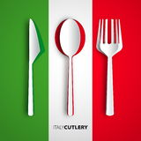 Coltelleria di Papercut sul desi del menu della carta del ristorante di vettore della bandiera dell'Italia Immagini Stock