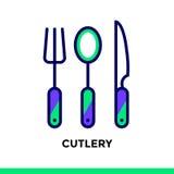 COLTELLERIA lineare dell'icona del forno, cucinante Suitabl del pittogramma di vettore Fotografia Stock