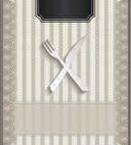 Coltelleria naturale della carta 3D del pizzo del ristorante del menu Fotografia Stock