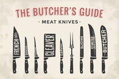Coltelli di taglio della carne messi Diagramma e schema del macellaio del manifesto royalty illustrazione gratis