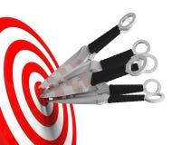 Coltelli ed obiettivo di lancio Immagine Stock