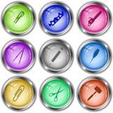 Coltello, chiave del ciclo, sega a benzina, calibro, matita, punteruolo Fotografie Stock