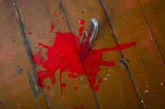 Coltello da cucina nel sangue Immagine Stock