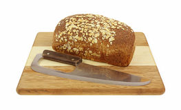 Coltello del bordo di pane della farina d'avena Fotografie Stock Libere da Diritti