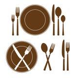 Coltello del piatto ed icona della forcella Fotografia Stock