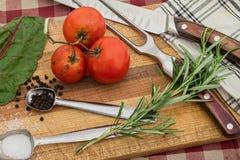 Coltello del tagliere per la preparazione di alimento ed il concetto organico del pasto Fotografia Stock Libera da Diritti