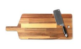Coltello della mannaia con il bordo di legno isolato su bianco fotografia stock libera da diritti