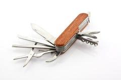 Coltello di tasca di legno nel bianco isolato Fotografia Stock Libera da Diritti