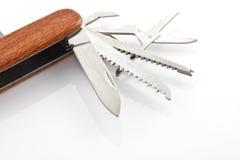 Coltello di tasca di legno nel bianco isolato Fotografie Stock Libere da Diritti