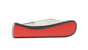 Coltello di tasca pieghevole del coltello a serramanico rosso isolato Fotografia Stock Libera da Diritti