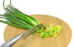 Coltello e cipolle tagliate Fotografie Stock