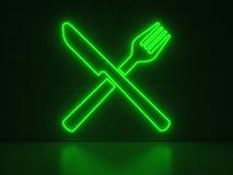 Coltello e forcella - insegne al neon di serie Immagini Stock
