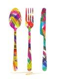 Coltello, forchetta e cucchiaio Fotografia Stock