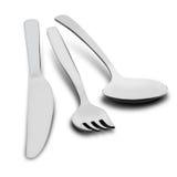 Coltello, forchetta e cucchiaio - fondo bianco stabilito della coltelleria - illustrazione Fotografie Stock Libere da Diritti