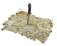 Coltello in mappa Immagini Stock Libere da Diritti