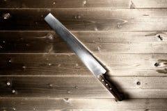 coltello su fondo di legno Fotografie Stock