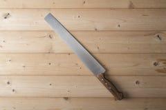 coltello su fondo di legno Immagine Stock Libera da Diritti