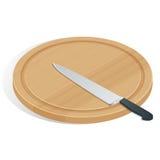 Coltello sul tagliere su bianco L'icona del coltello e del tagliere Cuoco unico e ristorante, simbolo della cucina Fotografia Stock Libera da Diritti
