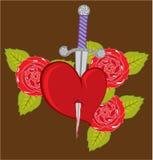 Coltello in un cuore con le rose Immagini Stock