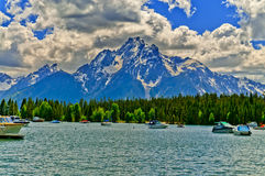 Colter Bay Marina on Jenny Lake royalty free stock photos