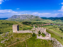 Coltesti Fortress and Piatra Secuiului Mountains in Apuseni Roma Royalty Free Stock Image