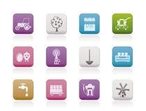 Coltivare ed industria di azienda agricola le icone degli strumenti Fotografia Stock Libera da Diritti