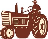 Coltivatore che guida il trattore dell'annata retro illustrazione di stock