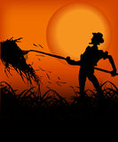 Coltivatore nel tramonto Fotografia Stock Libera da Diritti