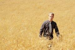 Coltivatore in vestito che si leva in piedi nel campo dell'avena Immagini Stock