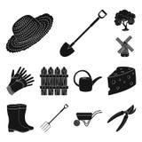 Coltivi ed icone nere di giardinaggio nella raccolta dell'insieme per progettazione L'azienda agricola e l'attrezzatura vector l' Fotografia Stock