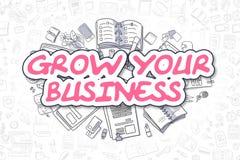 Coltivi il vostro affare - testo del magenta del fumetto Concetto di affari illustrazione vettoriale