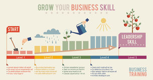 Coltivi il vostro modello di infographics di abilità di affari Immagine Stock Libera da Diritti