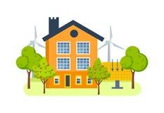 Coltivi la casa con i mulini a vento, i generatori a energia solare, la vegetazione, alberi da frutto Fotografie Stock