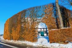 Coltivi la casa con l'alta barriera nel Eifel Fotografia Stock