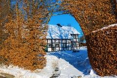 Coltivi la casa con l'alta barriera nel Eifel Fotografia Stock Libera da Diritti