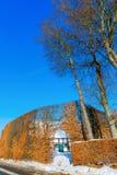 Coltivi la casa con l'alta barriera nel Eifel Fotografie Stock