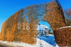Coltivi la casa con l'alta barriera nel Eifel Immagini Stock Libere da Diritti
