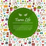 Coltivi le insegne piane che descrivono la vita nel fondo di vettore isolato animali della campagna Immagini Stock Libere da Diritti