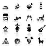 Coltura e cucina messicane impostate icone Fotografie Stock Libere da Diritti