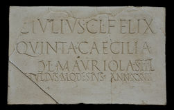 Funerary plaque belong to the Julios Family Royalty Free Stock Images