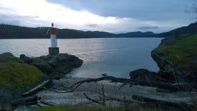 Columbia Británica de la puesta del sol, isla del pender de la costa Foto de archivo