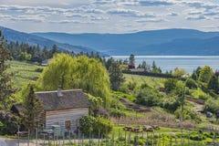 Columbia Britânica Canadá de Kelowna do lago Okanagan da cabine e do pomar da herdade Imagem de Stock