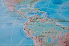 Columbia in close up on the map. Focus on the name of country. Vignetting effect.  stock images