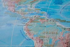 Columbia in close up on the map. Focus on the name of country. Vignetting effect.  royalty free stock image