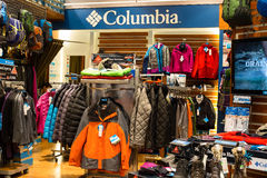 Columbia clothing section in a supermarket Siam Paragon in Bangkok, Thailand. Stock Photo